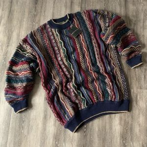 Vintage Multi Textured Sweater Navy Burgundy NWT